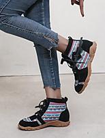 cheap -Women's Boots Flat Heel Round Toe PU Color Block Purple Red Blue