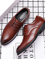 cheap -Men's Loafers & Slip-Ons Lace up Formal Shoes British Style Plaid Shoes Business Casual Classic Daily Office & Career PU Non-slipping Height-increasing Wear Proof Black Brown Fall