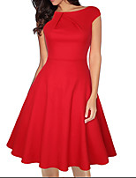 cheap -Women's A Line Dress Knee Length Dress Blue Blushing Pink Wine Light Red Black Red Short Sleeve Floral Polka Dot Solid Color Print Fall Round Neck Casual 2021 S M L XL XXL