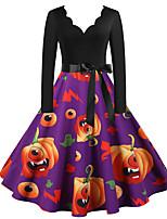 cheap -Pumpkin Audrey Hepburn Dress Swing Dress Adults' Women's Vintage Festival Halloween New Year Festival / Holiday Terylene Purple / Blue / Pink Women's Easy Carnival Costumes Patterned Pumpkin / Belt