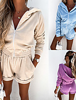 cheap -Women's Sweatsuit 2 Piece Set Pocket Front Zipper Hoodie Solid Color Sport Athleisure Clothing Suit Long Sleeve Breathable Soft Comfortable Everyday Use Street Casual Daily Outdoor / Summer