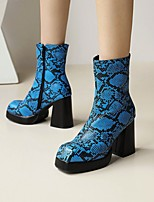 cheap -Women's Boots Flare Heel Square Toe Booties Ankle Boots Daily Work PU Snake Light Brown Blue White / Booties / Ankle Boots