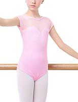 cheap -Gymnastics Leotards Girls' Kids Leotard Dancewear Spandex Cotton High Elasticity Quick Dry Breathable Sweat wicking Solid Color Short Sleeve Training Competition Ballet Dance Rhythmic Gymnastics