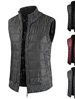 cheap -Men's Vest Gilet Street Daily Fall Winter Short Coat Regular Fit Warm Lightweight Breathable Casual Jacket Sleeveless Solid Color Full Zip Pocket Dark Grey Wine Black