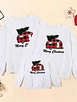 cheap -Christmas Tops Family Look Cotton Christmas Tree Letter Athleisure Print White Red Long Sleeve Basic Matching Outfits / Fall / Spring / Cute