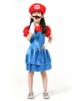 cheap -Mario Cosplay Costume Kid's Girls' Halloween Halloween Halloween Festival / Holiday Polyster Red Easy Carnival Costumes Solid Color / Dress / Gloves / Hat