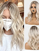 cheap -Long Blonde Wigs for Women, Ombre Color with Dark Roots Synthetic Wavy Wig Middle Parting