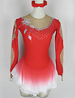 cheap -Figure Skating Dress Women's Girls' Ice Skating Dress Red Flower Patchwork Spandex High Elasticity Competition Skating Wear Patchwork Crystal / Rhinestone Long Sleeve Ice Skating Figure Skating