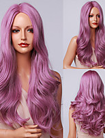 cheap -halloweencostumes HAIR CUBE Long Body Wave Purple Synthetic Wigs for Women Side Part Cosplay Party Lolita Wigs High Temperature Fiber Hair Wigs