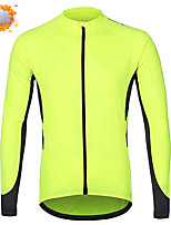 cheap -CAWANFLY Men's Long Sleeve Cycling Jersey Cycling Jacket Winter Green / Yellow Geometic Bike Tracksuit Winter Jacket Top Thermal Warm Fleece Lining Sports Clothing Apparel / Micro-elastic