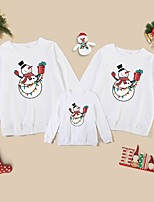 cheap -Christmas Tops Family Look Cotton Cartoon Snowman Athleisure Print White Black Red Long Sleeve Basic Matching Outfits / Fall / Spring / Cute