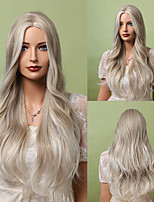 cheap -Synthetic Wig Natural Wave Deep Wave Middle Part Wig 24 inch Brown / White Synthetic Hair Women's Cosplay Soft Natural White Ombre Light Brown