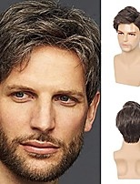 cheap -mens wigs short brown layered syntheric replacement hair wig cosplay costume party daily hair wig with wig cap