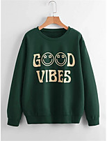 cheap -Women's Sweatshirt Letter Cotton Casual Hoodies Sweatshirts  Loose Green Black Brown