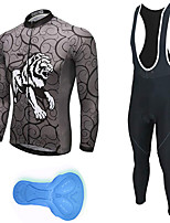cheap -21Grams Men's Long Sleeve Cycling Jersey with Bib Tights Spandex Polyester Grey Lion Funny Bike Clothing Suit 3D Pad Quick Dry Moisture Wicking Breathable Back Pocket Sports Patterned Mountain Bike