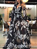 cheap -Women's Swing Dress Maxi long Dress Black Long Sleeve Floral Print Fall Winter V Neck Elegant Vacation Regular Fit 2021 S M L XL / Going out