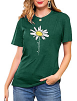 cheap -Women's T shirt Graphic Daisy Letter Print Round Neck Basic Vintage Tops Regular Fit Blue Blushing Pink Wine