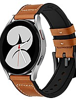 cheap -aresh leather silicone band compatible with samsung galaxy watch 4 band,20mm watch band replacement strap for galaxy 4 40mm 44mm galaxy watch 4 classic 46mm classic 42mm men women(brown)