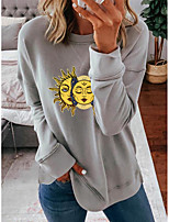 cheap -Women's Sweatshirt Solar System Crew Neck Cotton Casual Hoodies Sweatshirts  Loose Blue Blushing Pink Gray