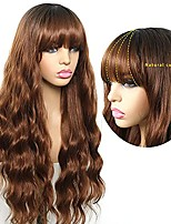 cheap -Brown Wavy Wig with Air Bangs Long Loose Curly Ombre Honey Blonde Synthetic Wig for Women Heat Resistant Full Machines Made Wig for Daily Cosplay 24 Inches