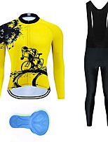 cheap -21Grams Men's Long Sleeve Cycling Jersey with Bib Tights Summer Spandex Polyester Black / Yellow White Polka Dot Gear Funny Bike Clothing Suit 3D Pad Quick Dry Moisture Wicking Breathable Back Pocket