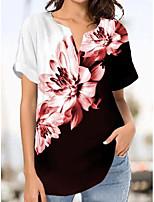 cheap -floral printed short sleeve v neck floral shirts & tops