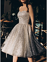cheap -A-Line Glittering Sparkle Party Wear Engagement Dress Strapless Sleeveless Knee Length Sequined with Pleats Sequin 2021