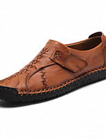 cheap -Men's Loafers & Slip-Ons Crochet Leather Shoes Casual Vintage Classic Daily Outdoor Leather Cowhide Handmade Non-slipping Shock Absorbing Light Brown Dark Brown Black Fall Winter