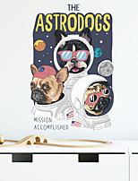 cheap -cartoon dog traveling in space children's bedroom porch home wall background decoration sticker