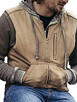 cheap -Men's Polar Fleece Gilet Daily Fall Winter Regular Coat Zipper Turndown Regular Fit Warm Casual Streetwear Jacket Long Sleeve Solid Color Quilted Pocket Khaki