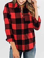 cheap -Women's Jacket Street Daily Fall Winter Regular Coat Regular Fit Warm Casual Jacket Long Sleeve Plaid / Check Print Red