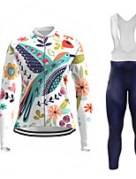 cheap -21Grams Women's Long Sleeve Cycling Jersey with Bib Tights Summer Spandex Polyester White 3D Floral Botanical Bird Bike Clothing Suit 3D Pad Quick Dry Moisture Wicking Breathable Back Pocket Sports 3D