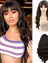 """cheap -Headband Wig with Bangs for Women Brown Wavy Hair Long Colored Synthetic Heat Resistant Wigs Natural Looking for Cosplay Daily Party(24"""",Brown)"""