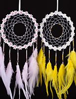 cheap -Boho Dream Catcher Handmade Gift Wall Hanging Decor Art Ornament Craft Feather Flower For Kids Bedroom Wedding Festival