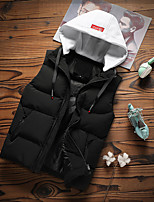 cheap -Men's Gilet Sport Daily Winter Regular Coat Zipper Stand Collar Regular Fit Warm Sporty Jacket Sleeveless Solid Color Pocket Yellow Gray White / Lined