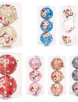 cheap -3pcs 8cm/10cm Christmas Tree Pendant Christmas Party Decoration Christmas Ball Pendant Sequin Printing 8cm Foam Ball