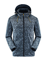 cheap -Men's Hoodie Jacket Hiking Jacket Hiking Windbreaker Outdoor Thermal Warm Waterproof Windproof Quick Dry Outerwear Trench Coat Top Skiing Fishing Climbing Blue Grey / Lightweight / Breathable