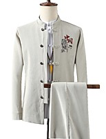 cheap -Men's Party / Evening Suits 1 pcs Mandarin Standard Fit Single Breasted More-button Solid Colored Polyester