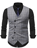 cheap -Men's Vest Gilet Business Work Fall Winter Regular Coat Regular Fit Thermal Warm Business Casual Jacket Sleeveless Plaid / Check Pocket Gray