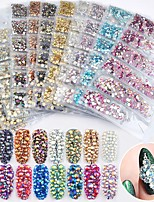 cheap -1 Pack Mixed SS4-SS16 Flatback Nail Rhinestones Crystal AB Colorful 3d Glass Stones DIY Charm Gems Manicure Nail Art Decorations