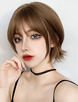 cheap -Synthetic Female Short Wig Linen Brown / Cold Brown Wig Bobo Short Curly Hair Synthetic Heat-resistant Wig.
