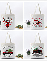 cheap -Fashionable Canvas Shoulder storage Bag Christmas gym reusable portable grocery shopping cloth book tote 20.0*15.0*2.0cm