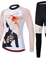 cheap -21Grams Women's Long Sleeve Cycling Jersey with Tights Spandex Polyester White Floral Botanical Funny Bike Clothing Suit 3D Pad Quick Dry Moisture Wicking Breathable Back Pocket Sports Floral