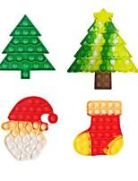 cheap -4 pcs Silicone Christmas Push Bubble Sensory Fidget Toy Christmas Anti-Stress Toush Bubble Autism Toy Adult Fidget Stress Relief Game