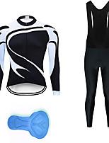 cheap -21Grams Men's Long Sleeve Cycling Jersey with Bib Tights Summer Spandex Black+White Bike Quick Dry Moisture Wicking Sports Geometric Mountain Bike MTB Road Bike Cycling Clothing Apparel / Stretchy