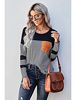 cheap -Women's Painting T shirt Striped Color Block Long Sleeve Pocket Print Round Neck Basic Tops Blue Green Black