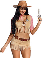 cheap -Cowgirl Cosplay Costume Adults' Women's Halloween Halloween Halloween Festival / Holiday Terylene Brown Women's Easy Carnival Costumes Solid Color / Top / Skirt / Hat / Waist Belt / Neckwear