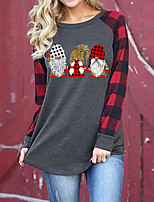 cheap -Women's Christmas Painting T shirt Plaid Graphic Long Sleeve Print Round Neck Basic Christmas Tops Regular Fit Green Red / 3D Print