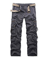 cheap -Men's Hiking Cargo Pants Solid Color Winter Summer Outdoor Loose Comfortable Cotton Bottoms Army Green Grey Khaki Black Coffee Camping / Hiking / Caving Traveling 28 29 30 31 32