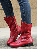 cheap -Women's Boots Chunky Heel Round Toe PU Solid Colored Red Blue Gray